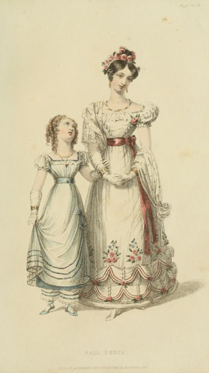 A ball gown with pantalettes for this girl.  1826 UK, Ackermann's Repository