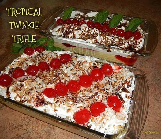 """Tropical Twinkie Trifle *NO BAKE!!  Ingredients:  1 - 20 oz. can Crushed Pineapple (drained)  1 box (10 cakes) - """"Twinkies"""" snack cakes  2 boxes (3.4 oz.) Instant Banana Pudding  1 can (21 oz.) Strawberry Pie Filling  3 ripe bananas , cut to your liking  1 - 8oz container Cool Whip (or whipping cream)  Toasted Coconut (optional)  Chocolate syrup (optional)  Chopped Nuts of your choice(optional)  Maraschino Cherries (optional)  This recipe filled 2 loaf pans (9 x 5 1/2)"""