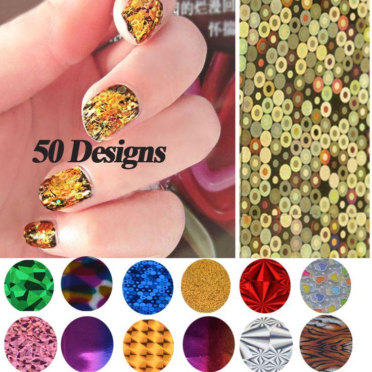 Nail Transfer Foil Stickers,50Designs(50pcs/lot) 6X21cm Nail Craft,DIY Nail Tip Beauty Salon Decorations,Stylish Nail Supplies $5.50