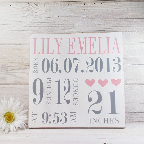 Wood Hand Painted Birth Announcement Sign by LilyAndLiamBoutique