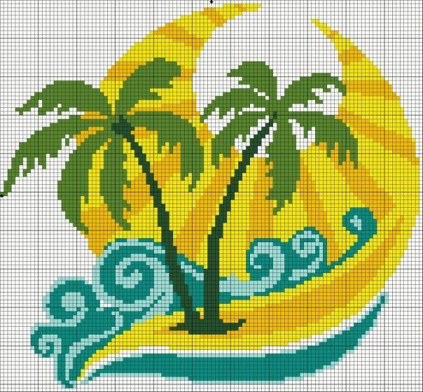 Ocean cross stitch. Palm tree cross stitch.