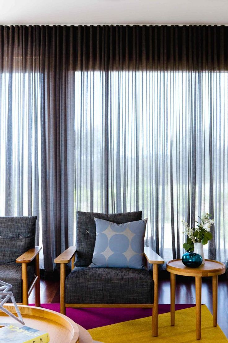 Jan15 window treatments sheer grey curtains retro living for Living room window treatments
