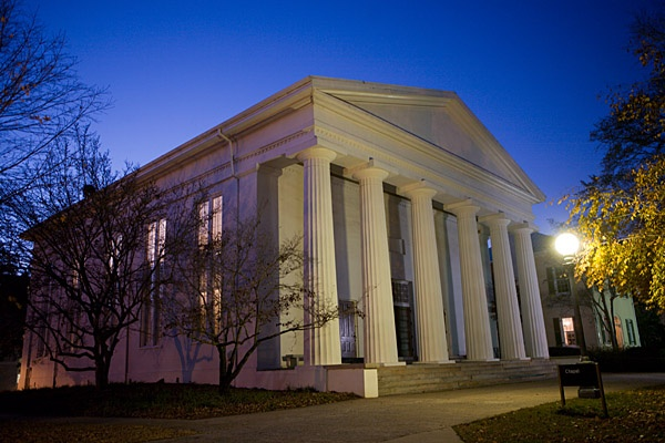 Chapel at night - The Chapel was one of the first Greek Revival structures in Athens. With its six massive Doric columns and classic design, it was easily the finest building on campus and remains one of the University of Georgia's most prominent and popular landmarks.
