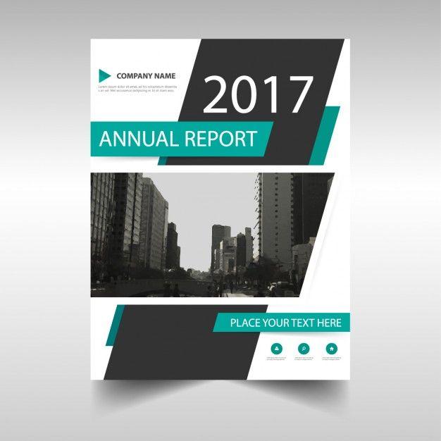 Molde de tampa do relatório anual de verde e preto Vetor grátis