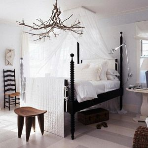 Bedroom canopy idea! ...i love this!!! & especially what looks like a tree branch chandelier!!