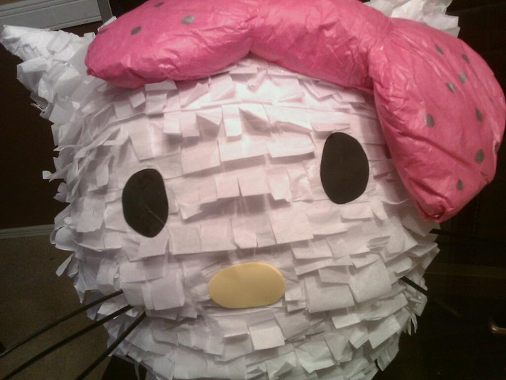 Hello Kitty Pinata Balloon Newspaper Flour Water Tissue