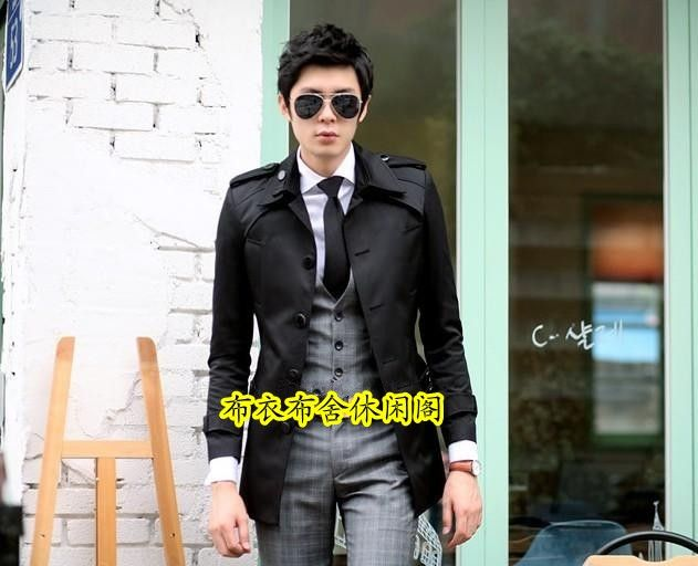 Black cheap winter coats for men 2016 spring mens trench coat business casual male single breasted long trench coat men 3XL