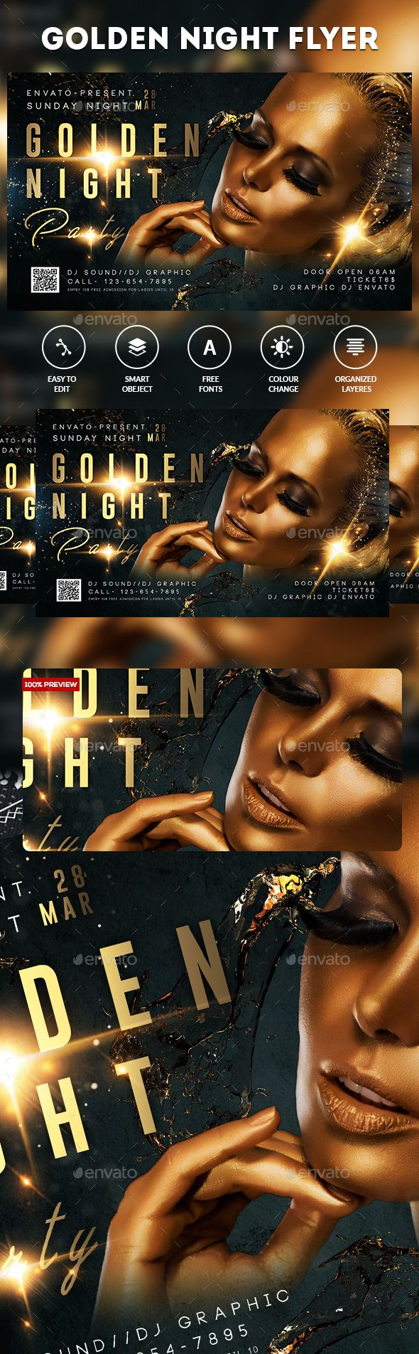 Golden Night Party Flyer — Photoshop PSD #gangway #socialite • Download ➝ https://graphicriver.net/item/golden-night-party-flyer/19605797?ref=pxcr