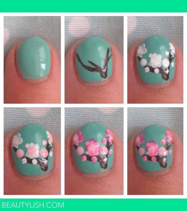 Tree Nail Art | Simple and Cute Floral Mani by Makeup Tutorials  http://makeuptutorials.com/easy-nail-art-designs-ideas/
