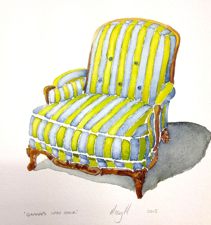 Grampa's Lazy Chair by Missy M * Framed Watercolour on Paper * 40cm x 50cm * * www.art101.com.au #Art #watercolour #British #painting #jamesstbne #brisbane #contemporary