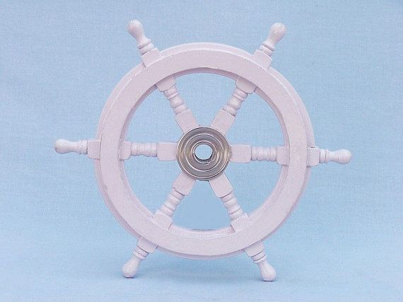 "Wood and Chrome Ship Wheels 12"" in White, Blue, Navy or Red / The Ships Wheel / boat steering wheel for a boat / Nautical Wall Decor"