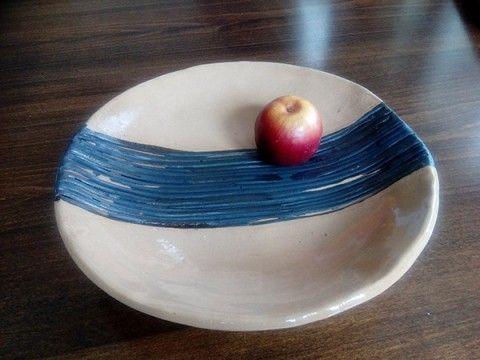 Velký talíř s pruhy domov dekorace talíř bytový lesklý mísa černý glazovaný béžový servírovací