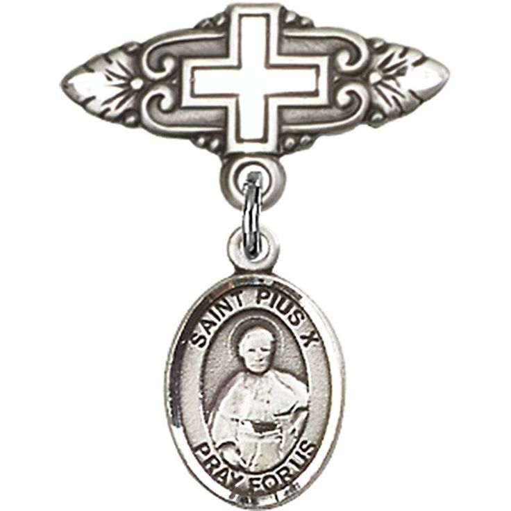 Sterling Silver Baby Badge with St. Pius X Charm and Badge Pin with Cross 1 X 3/4 inches ** Want additional info? Click on the image. (This is an Amazon Affiliate link)