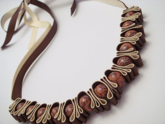 ribbon and bead necklace