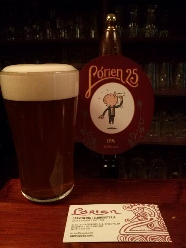 LÓRIEN25, IPA Single Hop de Sorachi Ace, 6'9% alc. i 70 IBU's. Cas Cerveser, Mallorca. Craft Beer