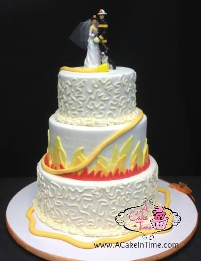 #Firefighter #weddingcake  A Cake in Time- Mount Sinai NY Delivering Wedding Cakes and cakes for all occasions from Manhattan to Montauk and everywhere in between!