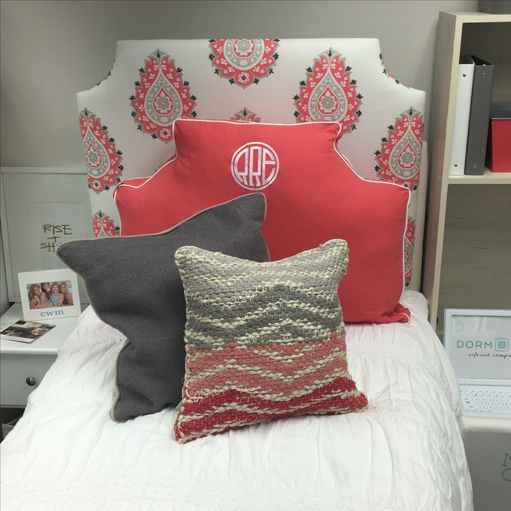 gorgeous bedding from dorm decor  devin coral headboard  coral headboard pillow  gray captiva