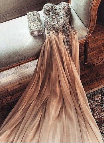 2016 Champagne Chiffon Crystals Prom Dresses Side Slit Long Evening Gowns