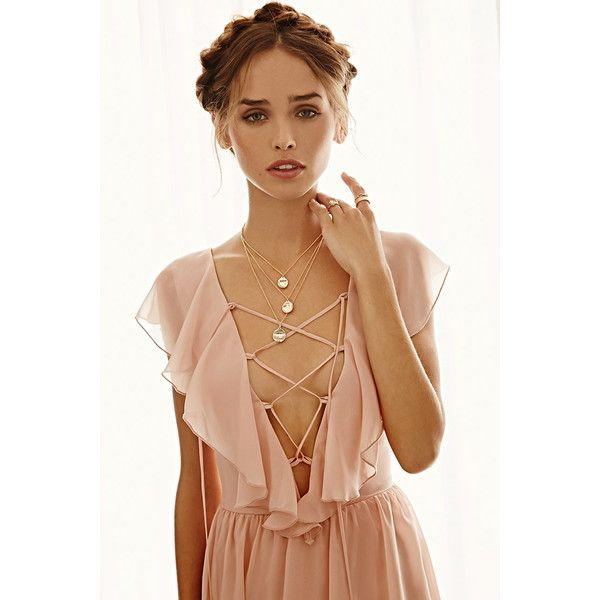 Forever 21 Women's  Ruffled Chiffon Maxi Dress (39 CAD) ❤ liked on Polyvore featuring dresses, chiffon ruffle dress, lace up dress, full length maxi dress, forever 21 and cap sleeve chiffon dress