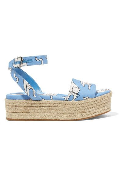 Sole measures approximately 45mm/ 2 inches Light-blue, white and black canvas Buckle-fastening ankle strap Made in Italy