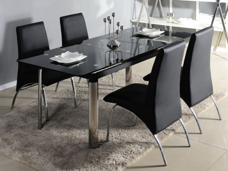 table extensible olga 6 8 couverts verre tremp noir