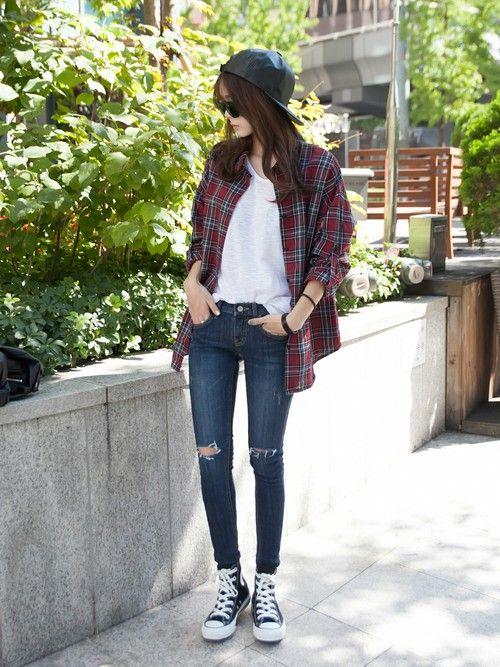 걸스룰 | GIRLS RULEシャツ・ブラウス「 ロング丈チェックシャツ」Styling looks