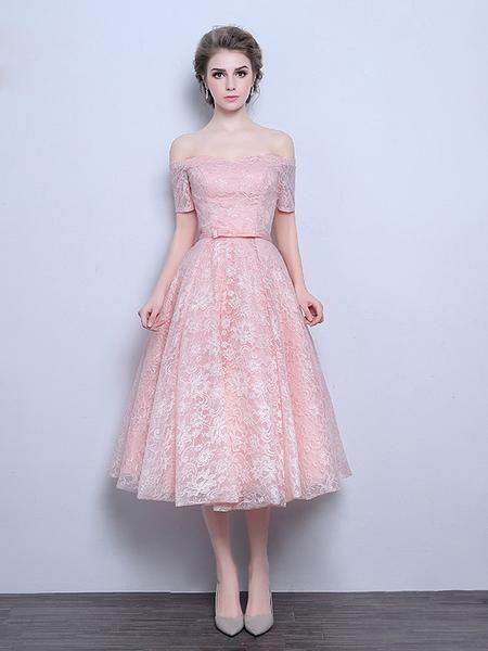 Pink Strapless Off Shoulder Tea Length Wedding Dress | DV3016