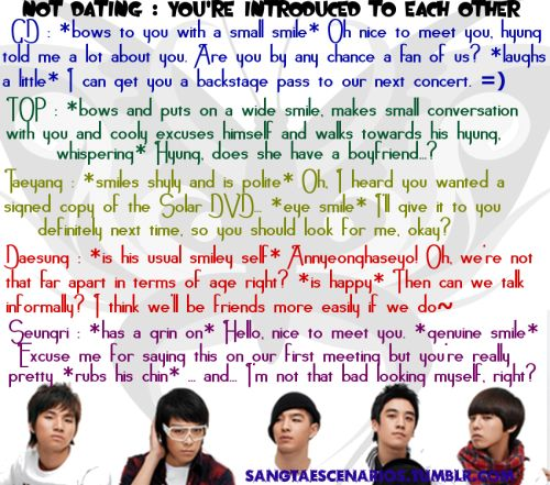Big Bang scenarios ~ Not dating: You're introduced to each other ~