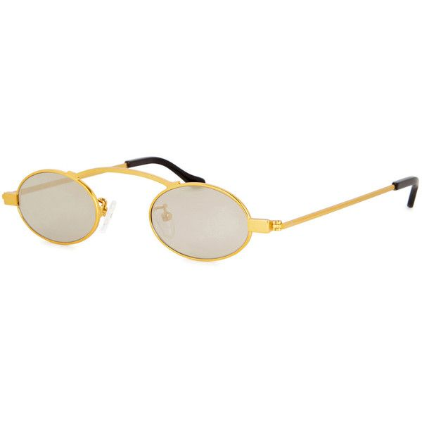 ROBERI AND FRAUD Doris Gold Round-frame Sunglasses ($270) ❤ liked on Polyvore featuring accessories, eyewear, sunglasses, mirrored sunglasses, round mirror sunglasses, mirror glasses, round gold frame glasses and round frame sunglasses