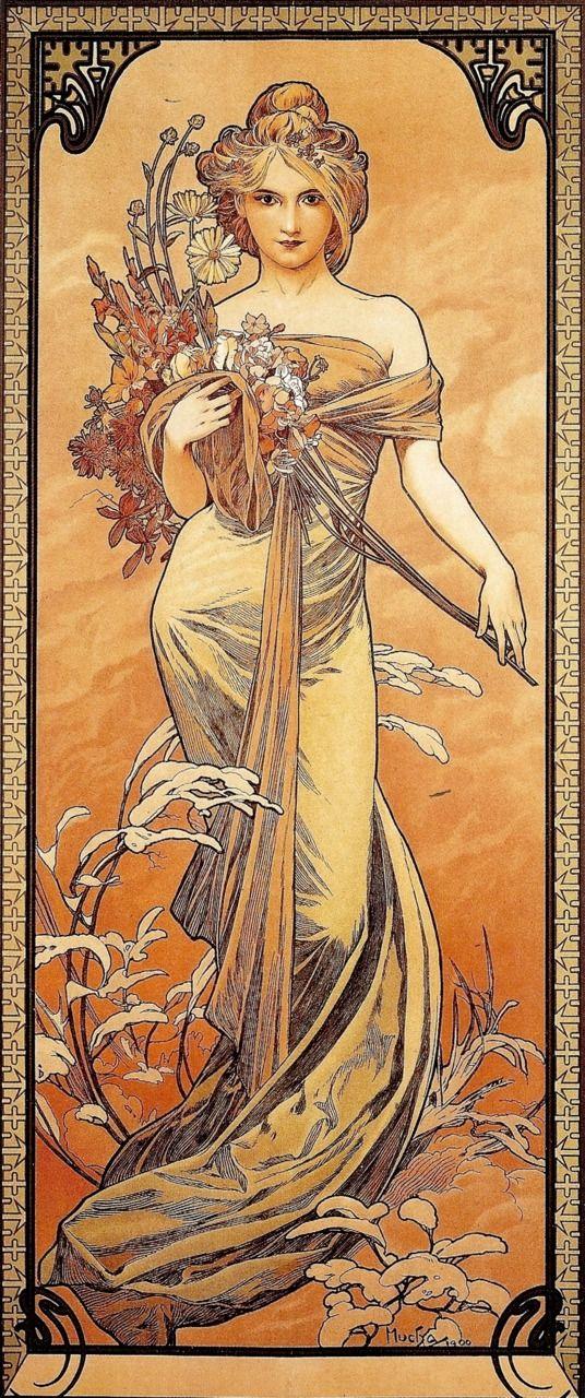 Alphonse (Alfons) Mucha - Illustration - Art Nouveau - Le Printemps - 1905