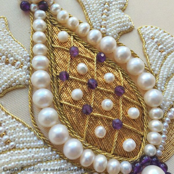 Goldwork & Pearl Embroidery from vintage goldwork sampler pattern