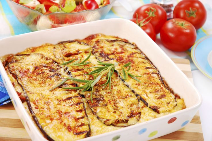 This simple Greek Mousaka recipe bakes the meat patties, instead of frying them, so they are healthy.