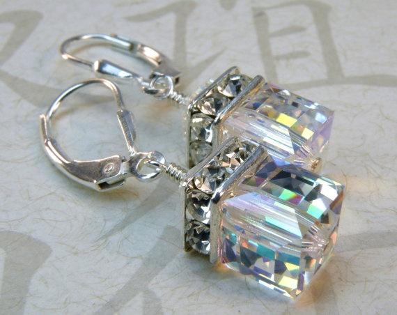 Crystal Earrings Sterling Silver Swarovski Elements by fineheart, $28.00 LOVE these