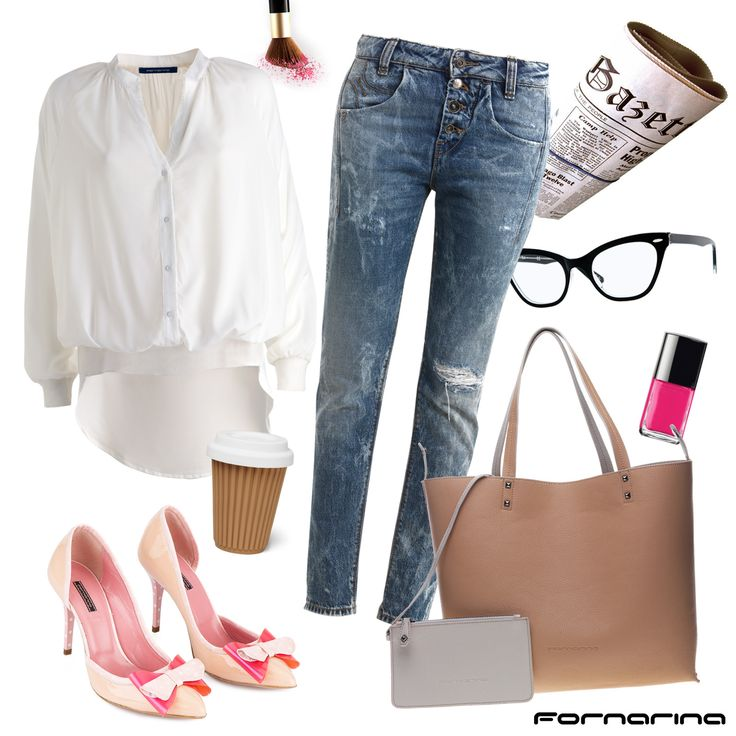 Fornarina styling tips #fornarina #myFornarina #stylingtips #lookidea #fashion #casual #whiteshirt #esmeshoes #fornarinadenim #ellebag