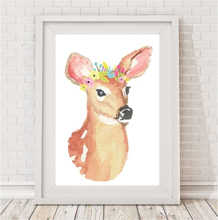 A whimsical watercolour deer with flower crown.