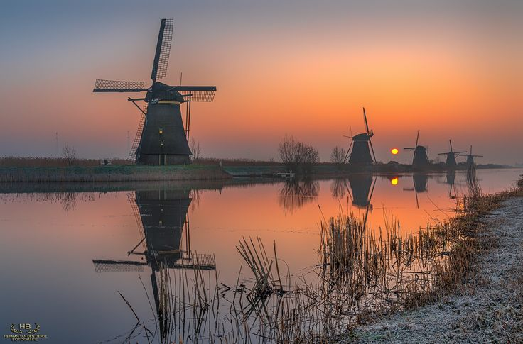 Orange Dreams II - A beautiful and cold morning from last winter at Kinderdijk. Sunrises at Kinderdijk can be really overwhelming.