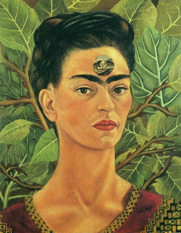 Thinking About Death (1943) | by Frida Kahlo ~ During this period, Frida's health had declined to the point where she spent most of her days confined to bed. Because of her poor health, now and over the years, death was always on her mind as symbolized by the skull and crossbones that appear in the circular window on her forehead.