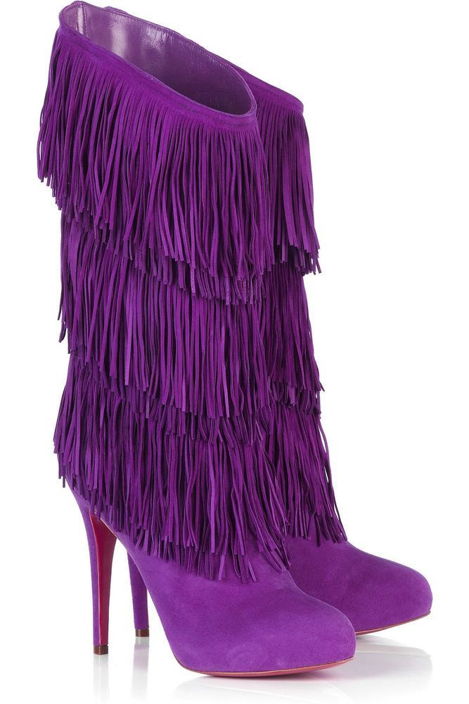 576c104a83f2 NEW Chirstian Louboutin Forever Tina Fringe Suede Magenta Purple Boots 36.5  40.5