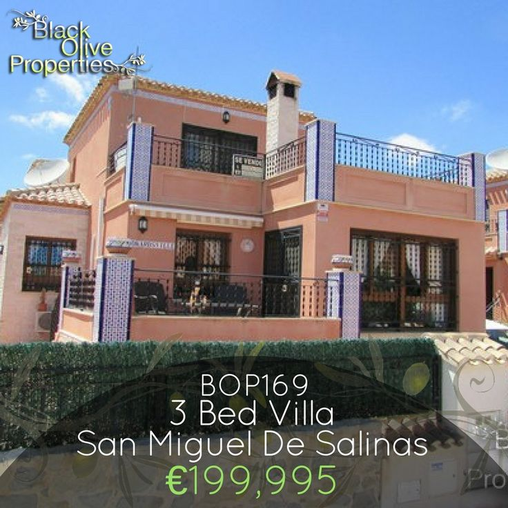 BOP169 - 3 Bed 2 bath detached villa with outstanding views in San Miguel De Salinas for only €199,995!  San Miguel De Salinas is a very up and coming area, with new businesses and homes being built.  We at Black Olive Properties are also situated in San Miguel De Salinas, Alicante, Spain.