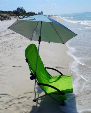 Turn any beach chair into one that provides shade with a clamp on beach umbrella.  We love this one by Sport Brella because it tilts and rotates in any direction for all day sun protection.
