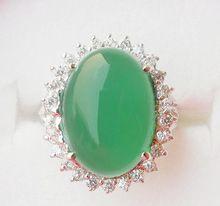 Anillos calcedonia calcedonia verde Natural real 925 anillo de plata esterlina joyería Fina Dama 13ct Ventas Al Por Mayor del Jade de la joyería de la gema(China)