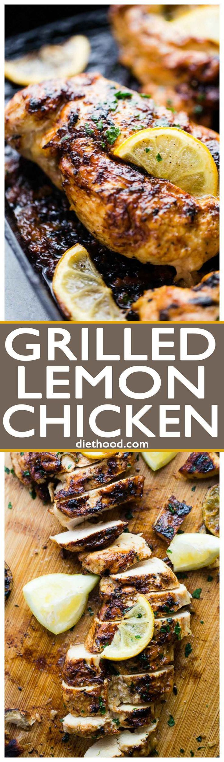 The Best Grilled Lemon Chicken Recipe - Perfectly tender, juicy, healthy lemon chicken marinated in a delicious lemon mixture, and prepared on the grill.