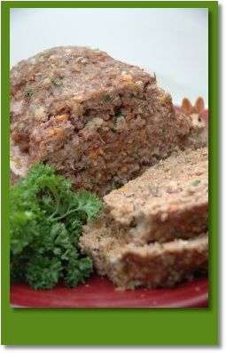 Meatloaf for dogs: 2 Pounds of ground beef or turkey ( I used low fat beef) 2 Large eggs 1 Cup of cooked oatmeal (plain) 1/2 Cup of fresh parsley (chopped) 1 Cup of carrots (chopped)  Directions: Preheat oven to 350 degrees. Mix all ingredients in large bowl. Use your hands to blend well. Once ingredients are completely blended, place mixture into a 13 x 9 loaf pan. Cook for 1 hour. Cool and serve! Store leftovers in an airtight container in the refrigerator.