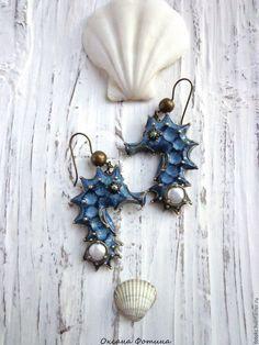 """Polymer clay Sea horse earrings / Купить Серьги """"Морские коньки"""" - голубой, серьги, полимерная глина, зеленый, море, морской конек"""