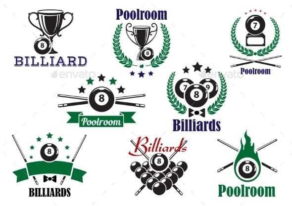 Billiard Game Or Poolroom Icons And Symbols