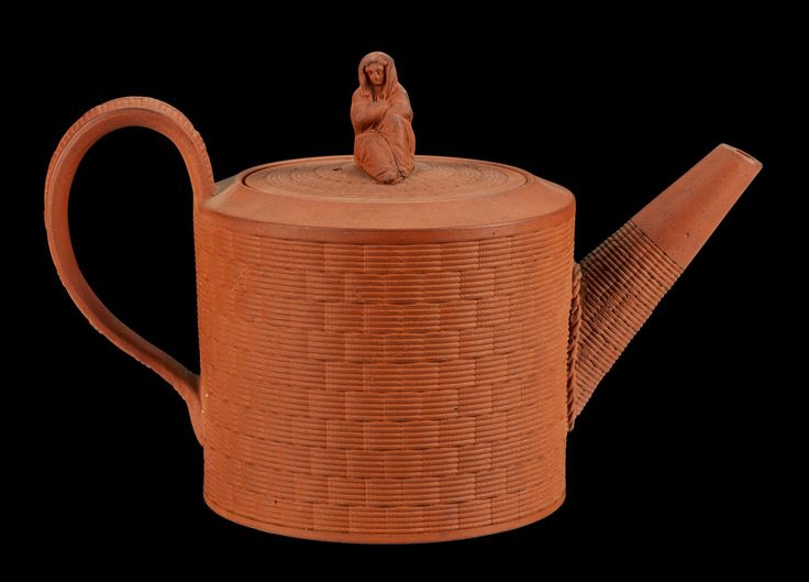 Teapot of red earthenware with surface relieved with basketwork and with a sibyl finial: English, Staffordshire, Etruria, impressed WEDGWOOD, by Josiah Wedgwood, late 18th century