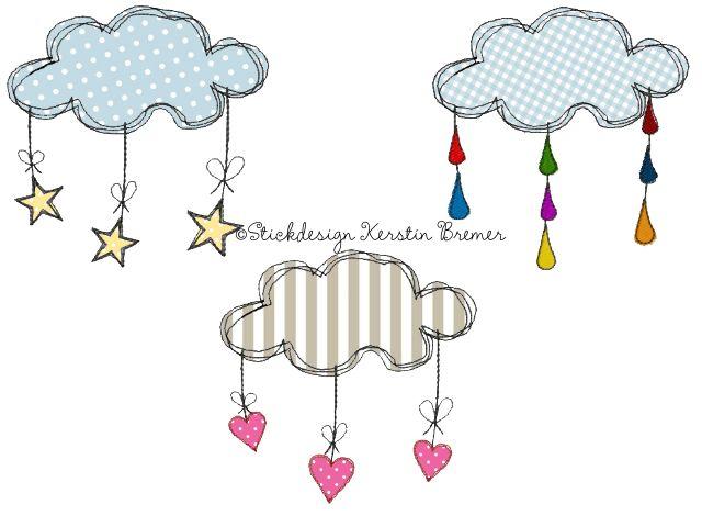 Wolken Doodle Stickmuster Set für eine Stickmaschine. Cloud doodle Appliqué embroidery Set for embroidery machines.