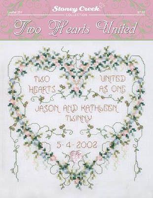 two hearts united cross stitch pattern 123stitchcom
