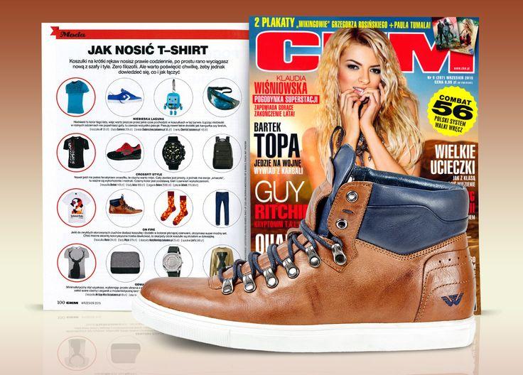 Styliści magazynu CKM prezentują jak modnie nosić t-shirt! W miejskiej swobodnej stylizacji doskonale sprawdzą się trzewiki marki Wojas w odcieniach brązu i granatu (5211/53) www.wojas.pl/produkt/20972.