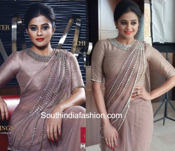 priyamani designer stonework saree 600x516 photo